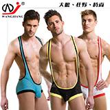 【網將WJ】男士性感網眼透氣背心平角連體衣﹝湖藍 M﹞