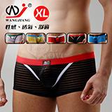 【網將WJ】條紋網紗半透明性感平口褲﹝黑 XL﹞