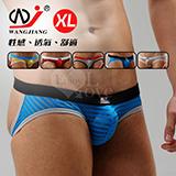 【網將WJ】條紋網紗半透明性感露臀造型褲﹝藍 XL﹞