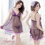 《Yisiting》紫花情迷!性感蕾絲薄紗透視睡衣